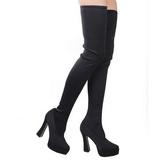 Black Lycra 13 cm ELECTRA-3000 Thigh High Boots for Men