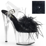 Black Marabou Feathers 18 cm ADORE-708MF Pole dancing high heels