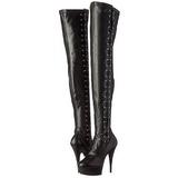 Black Matte 15 cm DELIGHT-3050 Platform Thigh High Boots