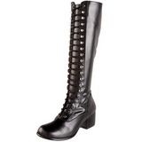 Black Matte 5 cm RETRO-302 High Heeled Lace Up Boots