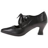 Black Matte 7 cm retro vintage VICTORIAN-03 Pumps with low heels