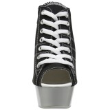 Black Neon 15 cm DELIGHT-600SK-01 Canvas high heels chucks