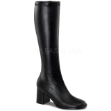Black Pu 8,5 cm Funtasma GOGO-300 Women Knee Boots