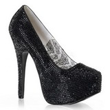 Black Rhinestone 14,5 cm Burlesque TEEZE-06R Platform Pumps Women Shoes