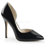 Black Shiny 13 cm AMUSE-22 Low Heeled Classic Pumps Shoes