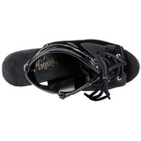 Black Shiny 15,5 cm DELIGHT-1016 Open Toe Platform Ankle Calf Boots
