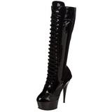 Black Shiny 15,5 cm DELIGHT-2023 Platform Knee Boots