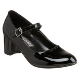 Black Shiny 5 cm SCHOOLGIRL-50 Low Heeled Classic Pumps Shoes