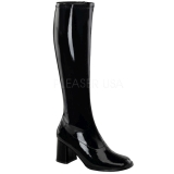 Black Shiny 8,5 cm GOGO-300 High Heeled Womens Boots for Men