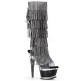Black Strass 16,5 cm ILLUSION-2017RSF womens fringe boots high heels