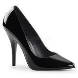 Black Varnished 13 cm SEDUCE-420 pointed toe pumps high heels