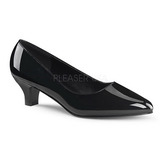 Black Varnished 5 cm FAB-420W Women Pumps Shoes Flat Heels