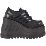 Black Vegan 12,5 cm STOMP-08 lolita ankle boots wedge platform