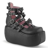 Black Vegan 9 cm DEMONIA VIOLET-45 gothic platform mary jane pumps