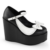 Black White 13 cm POISON-04 Platform Wedge Pumps Heels