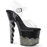 Black rhinestones 18 cm SCALLOP-708-2RS Pole dancing high heels shoes