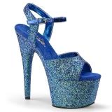 Blue 18 cm ADORE-710LG glitter platform high heels shoes