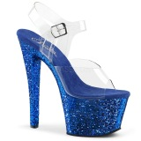 Blue 18 cm SKY-308LG glitter platform high heels shoes