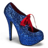 Blue Glitter 14,5 cm Burlesque TEEZE-10G Platform Pumps Shoes