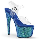 Blue Glitter 17 cm ADORE-708LG Platform High Heeled Sandal Shoes
