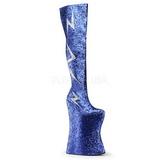 Blue Glitter 34 cm VIVACIOUS-3016 Thigh High Boots for Drag Queen
