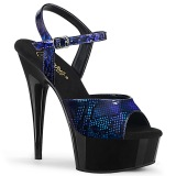 Blue Patent 15 cm DELIGHT-609SP platform pleaser sandals