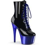Blue Patent 18 cm ADORE-1020 womens chrome platform ankle boots