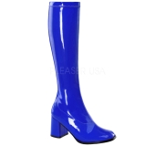 Blue Shiny 8,5 cm GOGO-300 High Heeled Womens Boots for Men