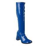 Blue Shiny 8,5 cm GOGO-300 High Heeled Womens Boots for Men
