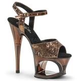 Brons 18 cm MOON-710GT glitter platå high heels