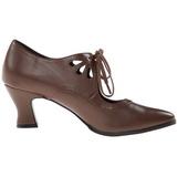 Brown Matte 7 cm retro vintage VICTORIAN-03 Pumps with low heels