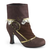 Brown Microfiber 7,5 cm MATEY-115 Retro Ankle Calf Boots