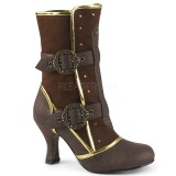 Brown Microfiber 7,5 cm MATEY-205 Retro Ankle Calf Boots