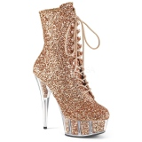 Brown glitter 15 cm DELIGHT-1020G womens platform soled ankle boots