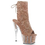 Brown glitter 18 cm ADORE-1018G womens platform soled ankle boots