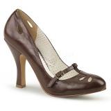 Brun 10 cm SMITTEN-20 Pinup pumps skor med låg klack