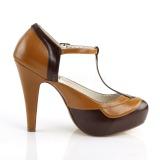 Brun 11,5 cm retro vintage BETTIE-29 Pinup pumps skor med dold platå