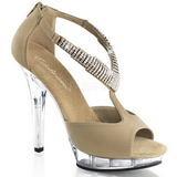 Brun 13 cm LIP-155 Höga sandaletter med klack