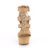 Brun Konstläder 15 cm DELIGHT-658 pleaser skor med höga klackar