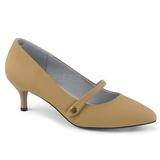 Brun Konstläder 6,5 cm KITTEN-03 stora storlekar pumps skor