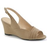 Brun Konstläder 7,5 cm KIMBERLY-01SP stora storlekar sandaler dam