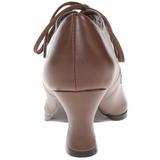 Brun Matt 7 cm retro vintage VICTORIAN-03 kvinnor pumps med låg klack