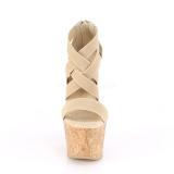 Brun band 16,5 cm BEAU-669 wedge sandaler med kilklack i kork