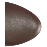Brun konstläder 13 cm CHLOE-308 lårhöga stövlar för breda vader