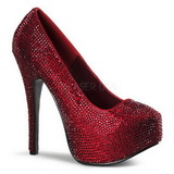 Burgundy Rhinestone 14,5 cm Burlesque TEEZE-06R Platform Pumps Women Shoes
