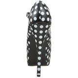 Burlesque TEEZE-08 Svarte Platåpumps med Vita Punkter 14,5 cm Klackade