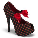 Burlesque TEEZE-25 Svarte Platåpumps med Röda Punkter 14,5 cm Klackade
