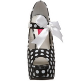 Burlesque TEEZE-25 Svarte Platåpumps med Vita Punkter 14,5 cm Klackade
