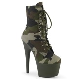 Camoflash Canvas 18 cm ADORE-1020CAMO pleaser ankle boots with platform