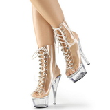 Clear 15 cm KISS-1016C womens platform soled ankle boots